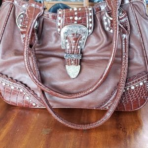 Western Bling Vegan Leather Cowgirl Purse Hand Bag